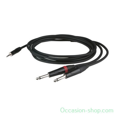 DAP FLX31 - stereo mini Jack  2x mono Jack L/R 3M audio cable with recessed jack body