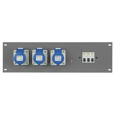 """SHOWTEC PDP-163F 19"""" Powerdistribution Panel with 3 x 16A CEE 3 pole + MCB"""